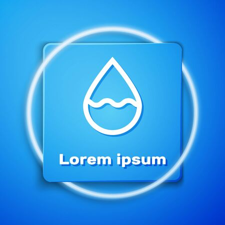 White Water drop icon isolated on blue background. Blue square button. Vector Illustration Stock Illustratie