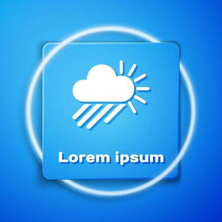 White Cloudy with rain and sun icon isolated on blue background. Rain cloud precipitation with rain drops. Blue square button. Vector Illustration