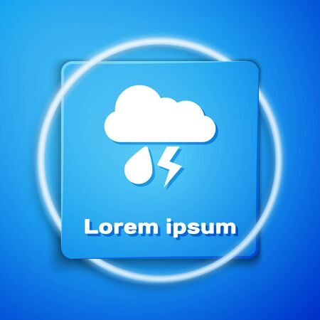 White Cloud with rain and lightning icon isolated on blue background. Rain cloud precipitation with rain drops.Weather icon of storm. Blue square button. Vector Illustration