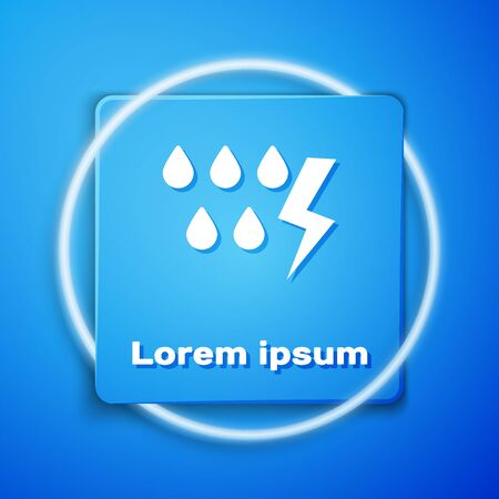 White Storm icon isolated on blue background. Drop and lightning sign. Weather icon of storm. Blue square button. Vector Illustration
