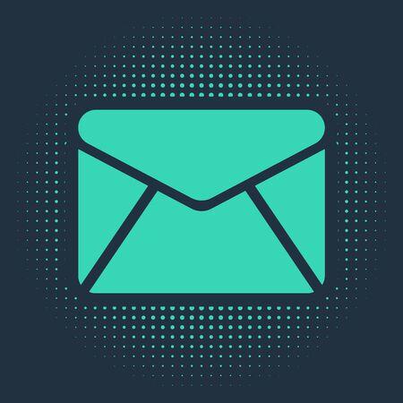 Green Envelope icon isolated on blue background. Email message letter symbol. Abstract circle random dots. Vector Illustration
