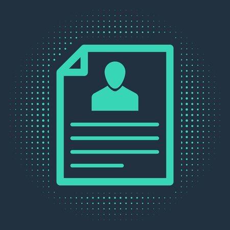 Green Resume icon isolated on blue background. CV application. Searching professional staff. Analyzing personnel resume. Abstract circle random dots. Vector Illustration  イラスト・ベクター素材
