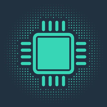 Green Computer processor with microcircuits CPU icon isolated on blue background. Chip or cpu with circuit board sign. Micro processor. Abstract circle random dots. Vector Illustration Ilustracja
