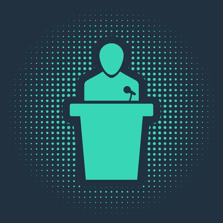 Green Speaker icon isolated on blue background. Orator speaking from tribune. Public speech. Person on podium. Abstract circle random dots. Vector Illustration