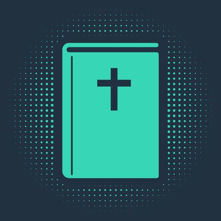 Green Holy bible book icon isolated on blue background. Abstract circle random dots. Vector Illustration