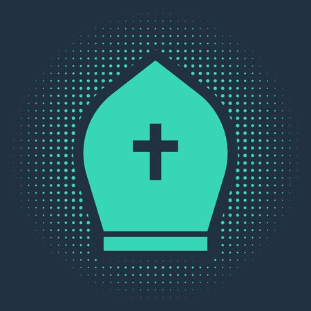 Green Pope hat icon isolated on blue background. Christian hat sign. Abstract circle random dots. Vector Illustration Çizim