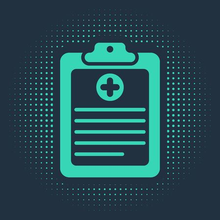 Green Medical clipboard with clinical record icon isolated on blue background. Health insurance form. Prescription, medical check marks report. Abstract circle random dots. Vector Illustration