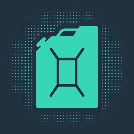 Green Canister for gasoline icon isolated on blue background. Diesel gas icon. Abstract circle random dots. Vector Illustration