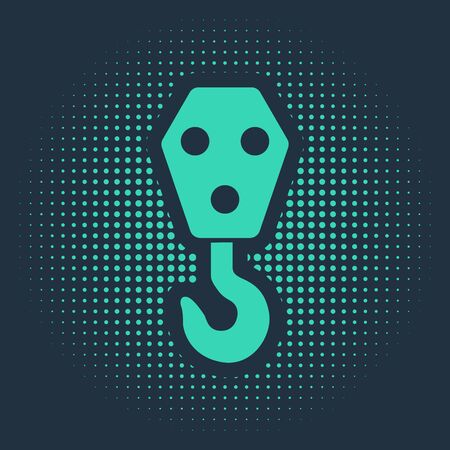 Green Industrial hook icon isolated on blue background. Crane hook icon. Abstract circle random dots. Vector Illustration