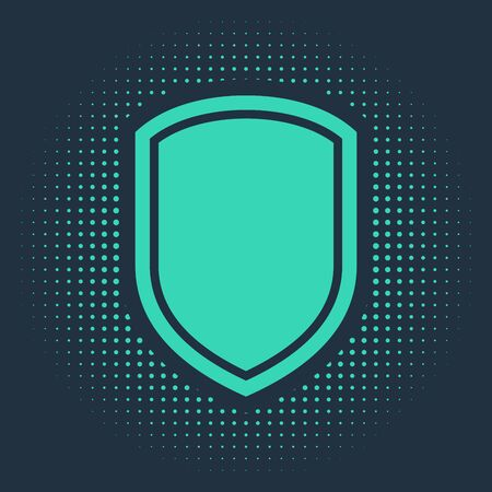 Green Shield icon isolated on blue background. Guard sign. Abstract circle random dots. Vector Illustration