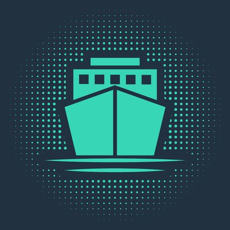 Green Ship icon isolated on blue background. Abstract circle random dots. Vector Illustration