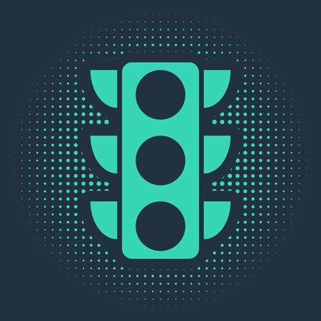 Green Traffic light icon isolated on blue background. Abstract circle random dots. Vector Illustration Banque d'images - 133109145