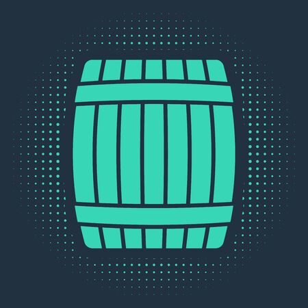 Green Wooden barrel icon isolated on blue background. Abstract circle random dots. Vector Illustration