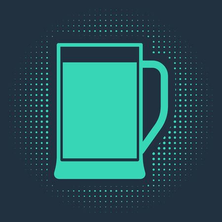 Green Glass of beer icon isolated on blue background. Abstract circle random dots. Vector Illustration Stock Illustratie