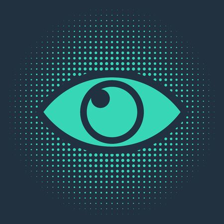 Green Eye icon isolated on blue background. Abstract circle random dots. Vector Illustration