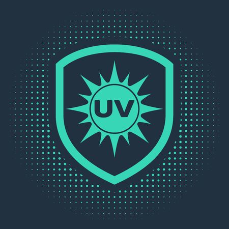 Green UV protection icon isolated on blue background. Sun and shield. Ultra violet rays radiation. SPF sun sign. Abstract circle random dots. Vector Illustration Ilustracja
