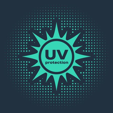 Green UV protection icon isolated on blue background. Ultra violet rays radiation. SPF sun sign. Abstract circle random dots. Vector Illustration Ilustracja