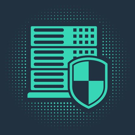 Green Server with shield icon isolated on blue background. Protection against attacks. Network firewall, router, switch or server, data. Abstract circle random dots. Vector Illustration