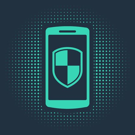Green Smartphone, mobile phone with security shield icon isolated on blue background. Abstract circle random dots. Vector Illustration
