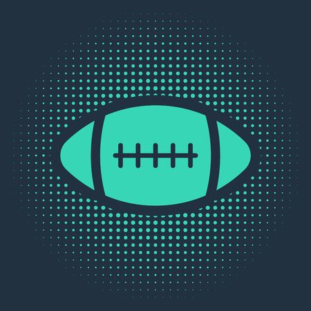 Green American Football ball icon isolated on blue background. Abstract circle random dots. Vector Illustration