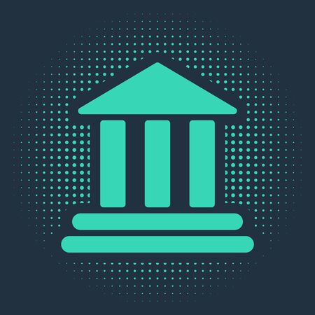 Green Bank building icon isolated on blue background. Abstract circle random dots. Vector Illustration