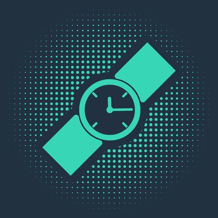 Green Wrist watch icon isolated on blue background. Wristwatch icon. Abstract circle random dots. Vector Illustration