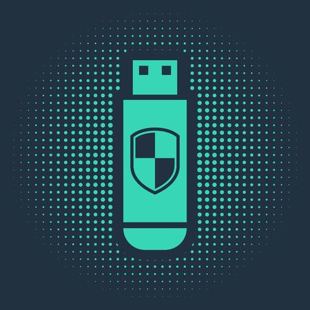 Green USB flash drive and protection shield icon isolated on blue background. Abstract circle random dots. Vector Illustration Ilustracja