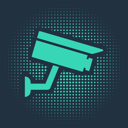 Green Security camera icon isolated on blue background. Abstract circle random dots. Vector Illustration Ilustracja