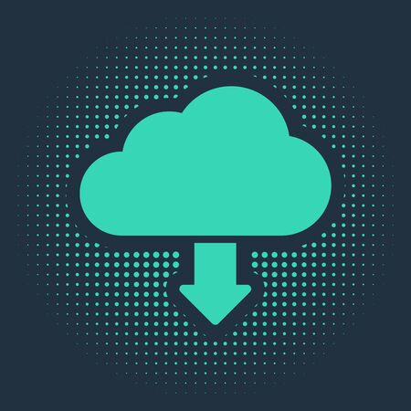 Green Cloud download icon isolated on blue background. Abstract circle random dots. Vector Illustration Ilustracja
