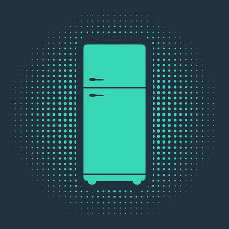 Green Refrigerator icon isolated on blue background. Fridge freezer refrigerator. Household tech and appliances. Abstract circle random dots. Vector Illustration