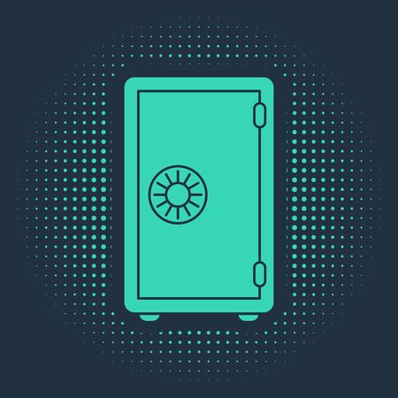 Green Safe icon isolated on blue background. The door safe a bank vault with a combination lock. Reliable Data Protection. Abstract circle random dots. Vector Illustration