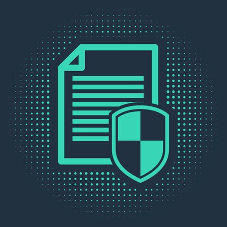 Green Document protection concept icon isolated on blue background. Confidential information and privacy idea, secure, guard, shield. Abstract circle random dots. Vector Illustration