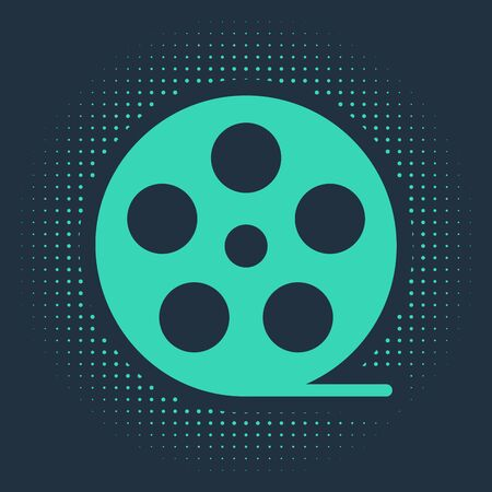 Green Film reel icon isolated on blue background. Abstract circle random dots. Vector Illustration Illustration