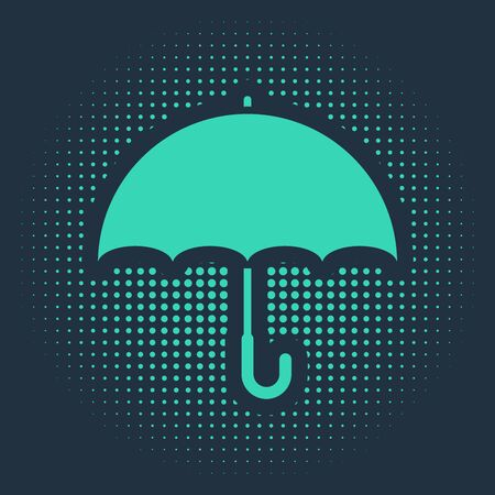 Green Umbrella icon isolated on blue background. Abstract circle random dots. Vector Illustration
