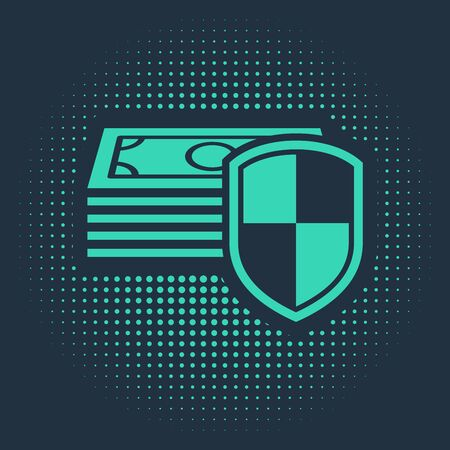 Green Money protection icon isolated on blue background. Financial security, bank account protection, fraud prevention, secure money transaction. Abstract circle random dots. Vector Illustration