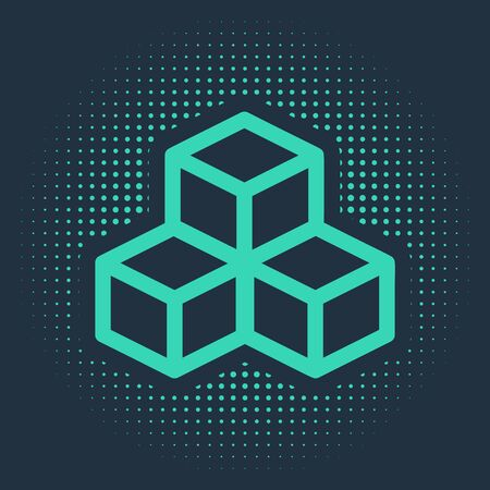 Green Isometric cube icon isolated on blue background. Geometric cubes solid icon. 3D square sign. Box symbol. Abstract circle random dots. Vector Illustration