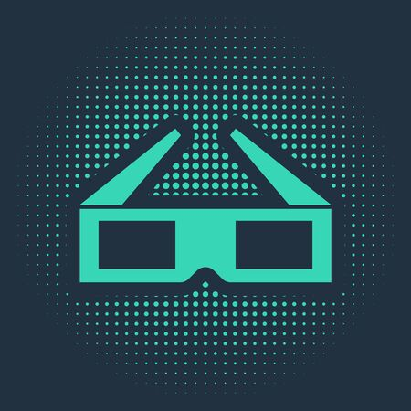 Green 3D cinema glasses icon isolated on blue background. Abstract circle random dots. Vector Illustration Illustration