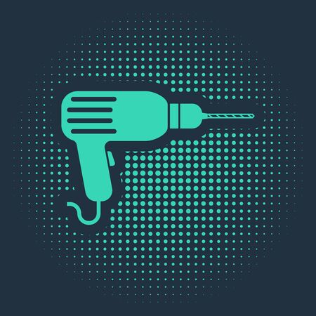 Green Drill machine icon isolated on blue background. Abstract circle random dots. Vector Illustration