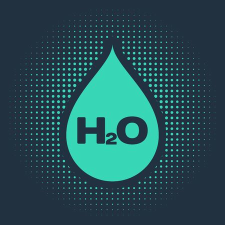 Green Water drop with H2O icon isolated on blue background. Water formula. Abstract circle random dots. Vector Illustration Stock Illustratie