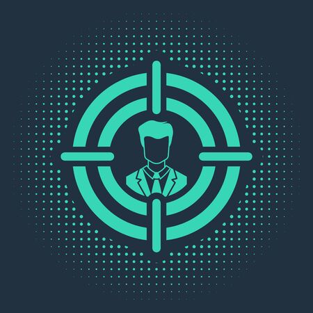 Green Head hunting concept icon isolated on blue background. Business target or Employment sign. Human resource and recruitment for business. Abstract circle random dots. Vector Illustration Stock Vector - 133109260