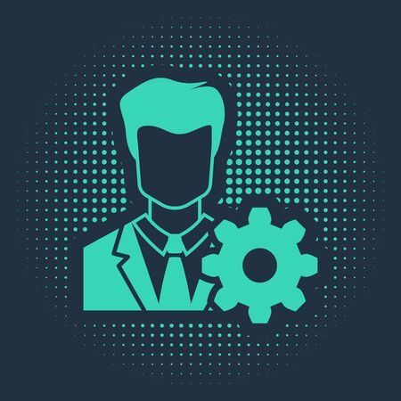 Green Profile settings icon isolated on blue background. User setting icon. Profile Avatar with cogwheel. Account icon. Male person silhouette. Abstract circle random dots. Vector Illustration Illustration
