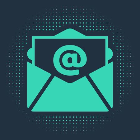 Green Mail and e-mail icon isolated on blue background. Envelope symbol e-mail. Email message sign. Abstract circle random dots. Vector Illustration