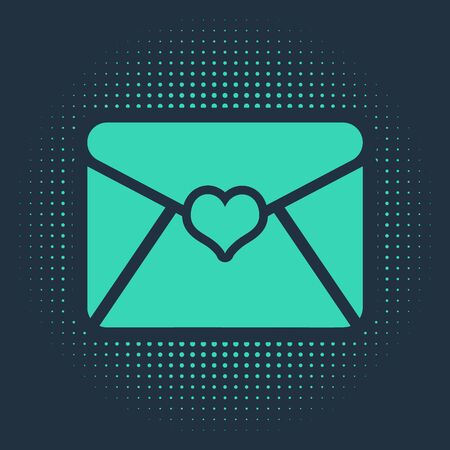 Green Envelope with Valentine heart icon isolated on blue background. Letter love and romance. Abstract circle random dots. Vector Illustration Иллюстрация