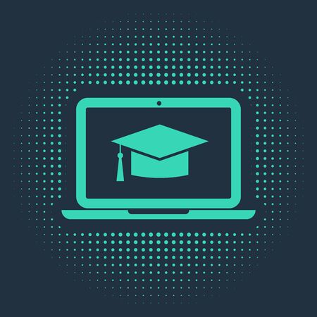 Green Graduation cap on screen laptop icon isolated on blue background. Online learning or e-learning concept. Abstract circle random dots. Vector Illustration Ilustração