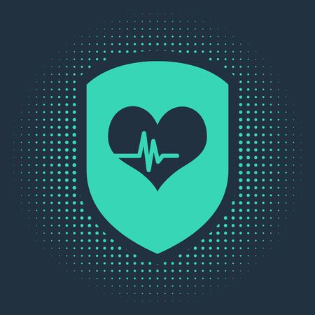 Green Shield and heart rate icon isolated on blue background. Health protection concept. Health care. Abstract circle random dots. Vector Illustration