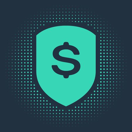 Green Shield and dollar icon isolated on blue background. Security shield protection. Money security concept. Abstract circle random dots. Vector Illustration Ilustracja