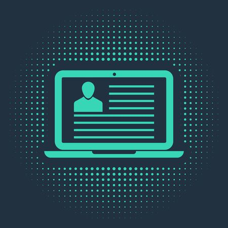 Green Laptop with resume icon isolated on blue background. CV application. Searching professional staff. Analyzing personnel resume. Abstract circle random dots. Vector Illustration