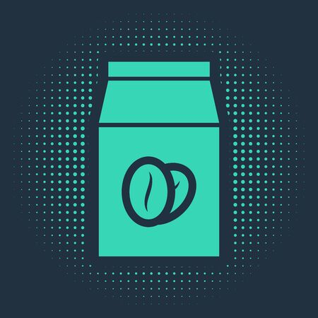 Green Coffee beans in bag icon isolated on blue background. Abstract circle random dots. Vector Illustration Çizim