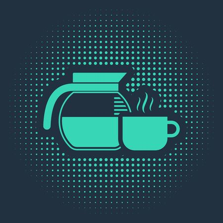 Green Coffee pot with cup icon isolated on blue background. Abstract circle random dots. Vector Illustration Vecteurs
