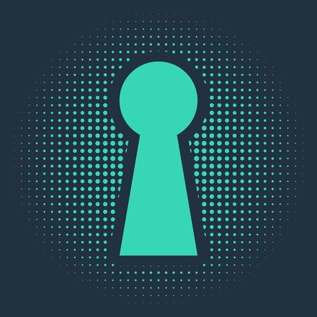 Green Keyhole icon isolated on blue background. Key of success solution. Keyhole express the concept of riddle, secret, safety, security. Abstract circle random dots. Vector Illustration